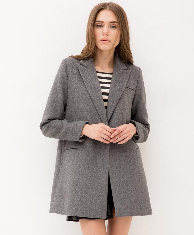 Manteau Mi Long Hiver Classique pour Femme en Laine avec Bouton Unique