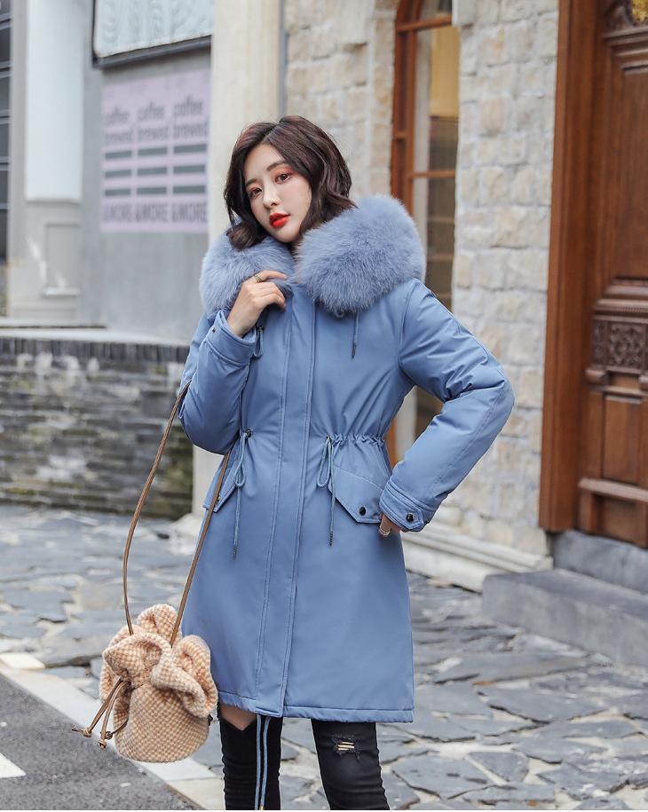 Manteau hiver femme avec fourrure intérieur et col relevé